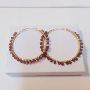 Hoop Earrings Garnet 14Kt Gold Pl Silver Boho